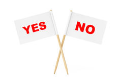 Mini Paper Pointer Flags com Yes e nenhuns sinais rendição 3d Imagens de Stock