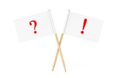Mini Paper Pointer Flags mit Fragen-Ausrufezeichen 3d ren Lizenzfreie Stockbilder