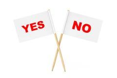 Mini Paper Pointer Flags mit ja und keinen Zeichen Wiedergabe 3d Stockbilder