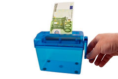 Mini paper shredder and Euro banknote Royalty Free Stock Image