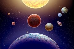 Mini parade planets on background star and sun. Annual small parade of the planets from 4 planets of the solar system on background star and sun royalty free illustration