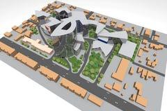 Mini Park 3D. 3D house drawing line, exterior design,  3D home, rendering residential, building, caffe, mini park Stock Photo