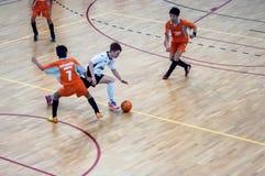 Mini partido de fútbol Fotografía de archivo libre de regalías