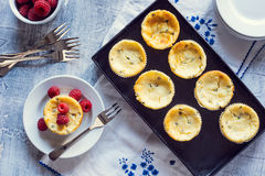 Mini Passionfruit Cheesecakes with Raspberries. A mini passion fruit cheesecake on a plate served with fresh raspberries. The cheesecakes are in a metal tray Royalty Free Stock Images