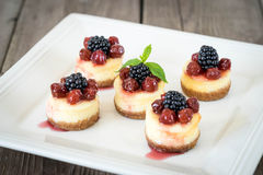 Mini pastel de queso con la cereza Foto de archivo