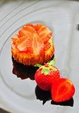 Mini pastel de queso de la fresa fotografía de archivo
