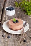 Mini-pastel de queso y galletas y arándanos del chocolate Fotos de archivo