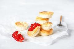 Mini pasteles de queso hechos en casa de la cabaña foto de archivo
