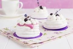 Mini pavlova with black currant and lavender Stock Photos