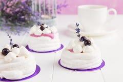 Mini pavlova with black currant and lavender Stock Image