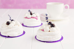 Mini pavlova with black currant and lavender Royalty Free Stock Photos