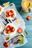 Strawberry-lime pavlova Stock Photo