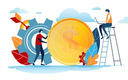 Mini people create idea to success. Business illustration vector graphic on white background. Flat cartoon miniature character. Stock Images