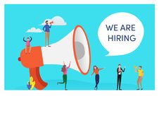 Free Mini Peoples And Megaphone Say We Are Hiring Word. People Vector Illustration. Flat Cartoon Character Graphic Design. Stock Photography - 136879832