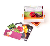 Mini Photo Business Cards. A box full of mini photograph business cards used as a brochure, leaflet and giveaway printed pieace Stock Photos