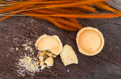 Mini pie apple with crumb on old wood , top view Royalty Free Stock Image