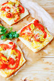 Mini pita with vegetables and cheese Stock Image