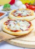 Mini pizza avec le salami, le lard, les champignons et le fromage image libre de droits