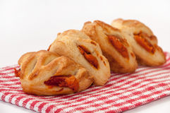 Mini pizza from bakery served on kitchen tablecloth Stock Photo