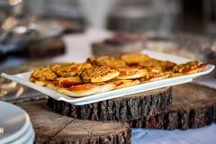 Mini pizza bakes platter royalty free stock photos
