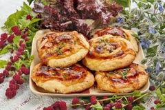 Mini pizza con la mozzarella ed i pomodori fotografie stock