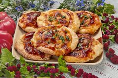 Mini pizza con la mozzarella ed i pomodori immagini stock