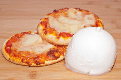 Mini pizza with mozzarella Stock Photo