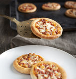 Mini pizza with pepperoni Royalty Free Stock Images
