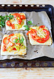 Mini pizza with peppers and cheese Stock Photography