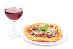 Mini Pizza with Red Wine Royalty Free Stock Photography