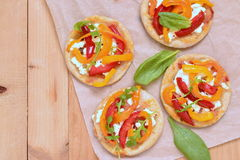 Free Mini Pizza With Bell Pepper, Cottage Cheese And Herbs Royalty Free Stock Image - 64762846