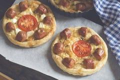 Mini pizzas stock photos