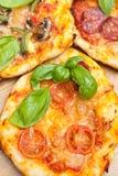 Mini Pizzas Close upp Fotografering för Bildbyråer