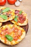 Mini pizzas em uma placa e em ingredientes de corte Imagens de Stock Royalty Free