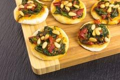 Mini pizzas - pizzette Stock Photo