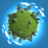 Mini planet concept. Empty space on fresh green field and trees Royalty Free Stock Image