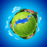 Mini planet concept. Village, river and bridges. Three houses on the different poles with small river / rivulet and wooden bridges. Earth collection Royalty Free Stock Images