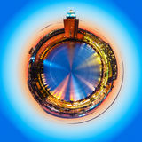 Mini planet with evening scenery of Stockholm, Sweden Stock Image