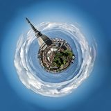 Mini planet or globe of Turin city center, in Stock Image