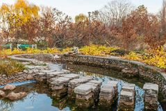 Mini pond in the park with rock made pass.  stock photography
