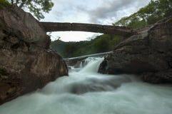 Mini ponte di pietra sopra una cascata Immagine Stock Libera da Diritti
