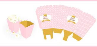 Mini popcorn snack box. Baby girl shower party. Stock Photos