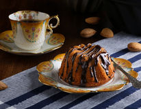 Mini Pound Cake - Hazelnut Cake With Chocolate Drizzle Royalty Free Stock Image