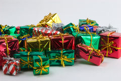 Mini presents gamma. A pile of wrapped presents royalty free stock images