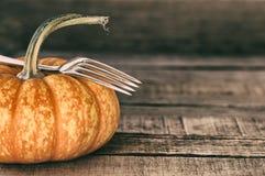 Mini Pumpkin med gaffelstilleben på lantligt, brädebakgrund Arkivfoto
