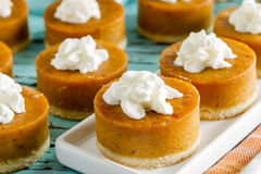 Mini Pumpkin Pies for Holiday Celebrations Royalty Free Stock Photography