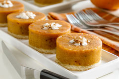 Mini Pumpkin Pies for Holiday Celebrations Royalty Free Stock Image