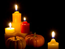 Mini Pumpkins and Candles Stock Photo