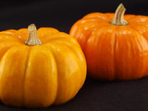 Mini Pumpkins Isolated on a Black Cloth Royalty Free Stock Photos