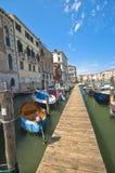 Mini Quay in Venice. One of the numerous mini quays at the Grand Channel in Venice Stock Photo